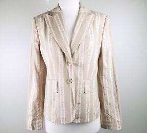 NWT Ann Taylor Loft Womens Tan Cream Pink Floral Embroidery Blazer Jacket Sz 6