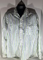 G.H Bass & Co size XL White with Blue/Green Stripes Long Sleeve Button Up Shirt