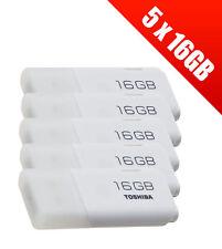 5 x Toshiba TransMemory U202 16 GB USB 2.0 Flash Drives - White (5 x THN-U202W01