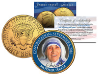 MOTHER TERESA Historic BECOMES A SAINT Canonization 24KT Gold Clad JFK U.S. Coin