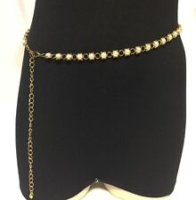 New Without Tag Women Western Faux Pearl Belt Or Necklace Gold Tone Reversible.