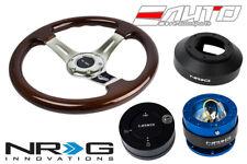 NRG 330 BR Wood CH Spoke Steering Wheel/141 Hub/2.0 Blue Quick Release/Lock Matt