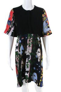 Carven Womens Popover Abstract Satin Belted Dress Multicolor Size FR 36 11431498