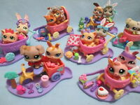 Littlest Pet Shop Lot 2 Random Baby Dog Kitten Bunny Stroller and 7 Accessories