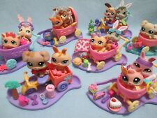 Littlest Pet Shop Lot 2 Random Baby Dog Kitten Bunny Stroller and 7 Accessories