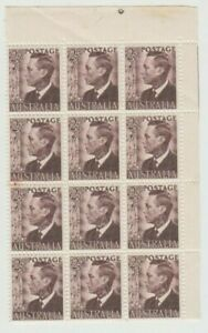 Stamps 1951 Australia 2&1/2d brown KGV1 top right block of 12 including perf pip