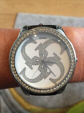Ladies Large Face Guess Watch Black Leather Strap