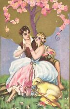 Vintage Signed CHIOSTRI Postcard,Art Deco,Man & Woman with Lamb,1930s