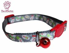 Get your pet in to the Holiday spirit with this cute collar w/ snowmen and bell
