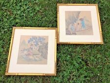 Antique ONE OF A KIND Set of 2 FINE ART Chinese PAINTINGS Immortals in Love Boat