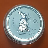 1 DOLAR 1999 YEAR OF THE RABBIT 999 SILVER OZ LUNAR SERIES Australia ONZA Conejo