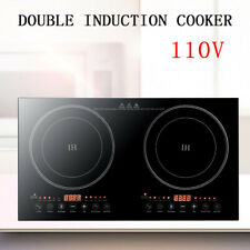 2400W Dual Induction Cooker Countertop Two Burner Cooktop Hot Panel Fast Cook