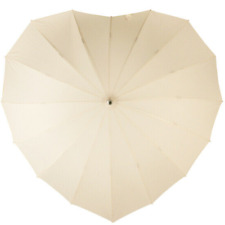 SOAKE Cream Heart Boutique Umbrella 16 Ribbed Large Soft Handle Women Unisex