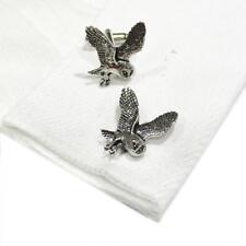 Silver Pewter Barn Owl Cufflinks Handmade in England Cuff Links Owls Bird New
