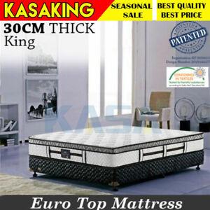 King Size Mattress Pocket Spring Euro Latex Top 6 Turns 30cm Thick KASA Dream