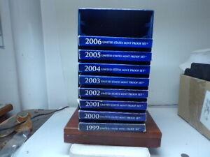8 proof sets 1999, 2000, 2001, 2002, 2003, 2004, 2005, 2006  lot # 3