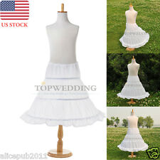 3 Hoop Children Petticoat Slips Flower Girls Bridal Crinoline Underskirts White