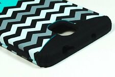 For Samsung Galaxy Note 3 -HARD&SOFT RUBBER HYBRID CASE COVER BLUE BLACK CHEVRON