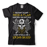 Mens viking shirt, You Don't Always Need A Plan, Viking Shirts, Viking Skull Tee