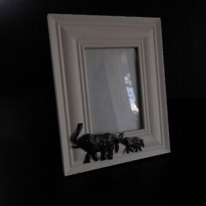 Cadre photo éléphant métal bois verre vintage art déco maison ethnique N7023