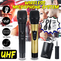 Professional UHF Double Wireless Handheld Microphone With 3.5mm Receiver