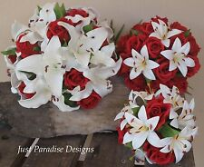Artificial Wedding Bouquet Set - Roses and Lilly - Stunning Package