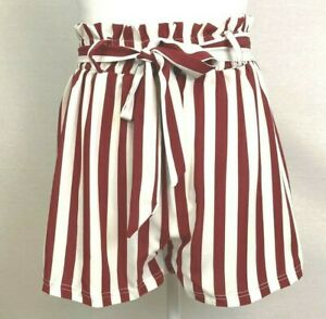 Romwe Shorts Women's size M Red /White Striped High Rise Belted Elastic Waist