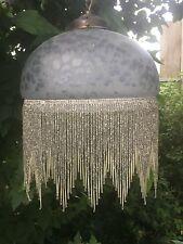 Pretty FRANCESE VINTAGE GLASS & Perline Frangia ROUND Art Deco Stile Plafoniera