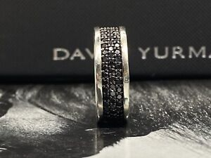 David Yurman Men's Streamline Three-Row Black Diamonds Ring SZ 9.5
