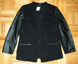 Madewell Blazer Jacket Leather Sleeve Tweed Button Black Womens Size 12 New Tag