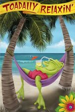 "Toadily Relaxin' Tropical Summer Frog 2-Sided Yard Garden Flag 12"" X 18"""
