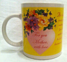 FOR YOU MOTHER WITH LOVE Yellow White , Heart Coffee Cup Mug Flomo.