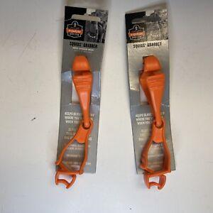 Lot of 2 ERGODYNE Squids 3400 Orange Glove belt Grabber Holder Dual Clip