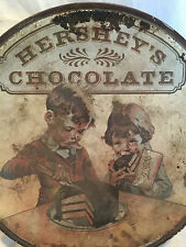 Antique Hershey's Chocolate Tin Bowl w/Boy & Girl Eating Cake Design on Lid