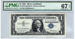 Fr.1619 $1 1957 B-B Block Silver Certificate PMG Superb GEM Uncirculated 67 EPQ