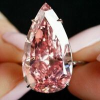 4.25 Ct Pear Pink Sapphire Ring Women Wedding Jewelry Gift 14K Rose Gold Plated