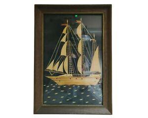 Marquetry Wood  Sail Ship Picture Folk Art Vtg w Frame
