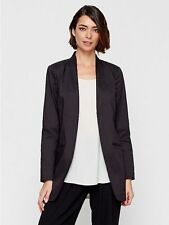 Eileen Fisher NWT $378 black ramie blend open front jacket size 12/Large