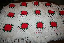 rM- COLLECTABLE BLANKET AND PILLOW SET HANDMADE CROCHET ROSES UNUSED GORGEOUS