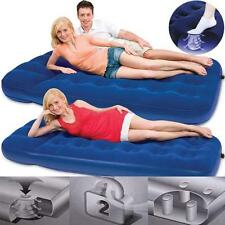 SINGLE DOUBLE INFLATABLE FLOCKED AIR BED BUILT IN PUMP CAMPING HIKING MATTRESS