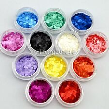 12 PCS Acrylic Nail Art Round Glitter Sequins Set For Nail Tips Decoration Tool