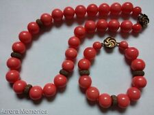 Vintage Salmon Pink  Natural Coral Necklace Bracelet Set  Italian Sterling Gold