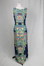 Mara Hoffman Multicolor Blue Maxi Column Sleeveless Open Back Dress Size 8