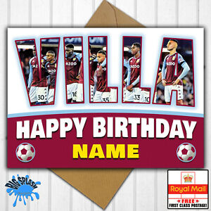 Aston Villa Personalised Birthday Card Any Name or Relative Age 30th 40th 21st