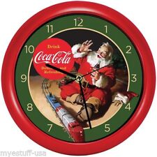 Coca-Cola® Santa with Train Musical Christmas Carols Sound Clock 8 inch