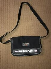 Polo Sport Ralph Lauren Spellout Small Bag Black adjustable strap Vintage  purse 16b42345aa38d