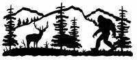 Die Cut Vinyl Decal Sasquatch Bigfoot Nature Scene DIY 20 Colors Car Truck #944