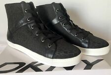 DKNY Women's Sigrid Logo Jacquard Fashion Hi-Top Sneaker Shoes Black Size 9