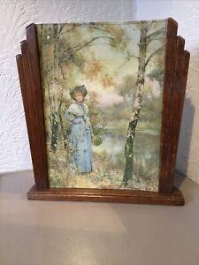 "Vintage Art Deco Oak Stepped Mantel Picture Frame-13 1/4"" x 12 1/4"" #3838"