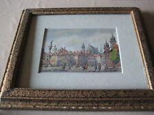 "Adam Stanislaw Keller Original Watercolor Landscape, Framed, 6 1/2"" x 4 1/2"""